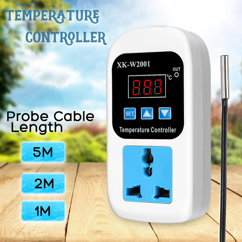 AC 110-220V Digital Thermostat Regulator Temperature Controller Microcomputer Socket 1/2/5m Cable Outlet -50~110C + NTC Sensor