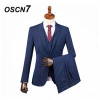 OSCN7 3PCS Tailor Made Suits Men Gentleman Red Vertical stripes Wedding Dress Custom Made Suit Men Fashion Tuxedo DM 011