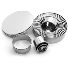 Hot 12PCS Cookie Cutters Stainless Steel Round Patisserie for Cookies Pasta with Sugar Cakes