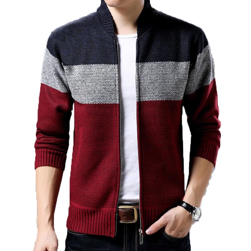 Men's Sweater Jacket Cardigan Knitting Thick 2019 Men's Wool Fleece Casual Sweaters Autumn Winter Warm Zipper Up Male Sweaters