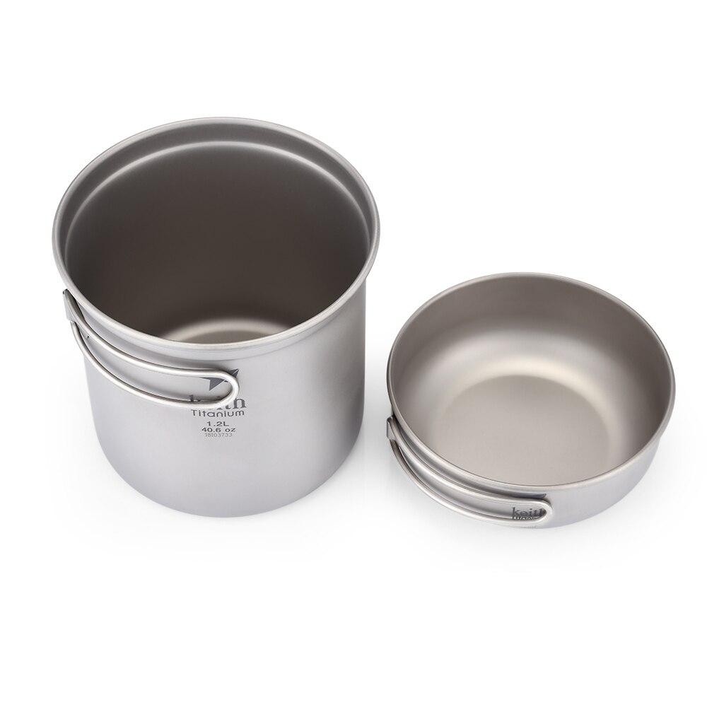Keith vaisselle Portable poignée pliable 1.2L + 400 ml bol en titane