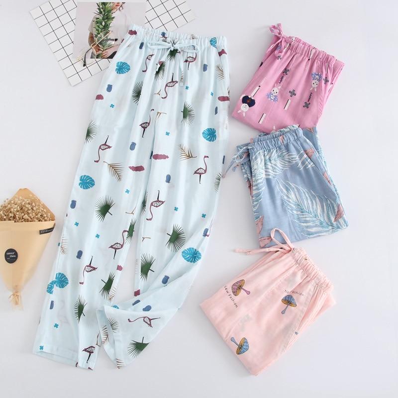 Autumn Pajamas Sleep Pants Cotton Double-Decker Gauze Trousers Japanese Loose Sleep Bottoms Home Pants Pijama 18 Colors