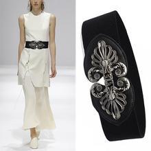 MISS M Women New Design Vintage Wide Belt Female Dress Decoration Belts Waistband Fashion Black Silver PU For Party