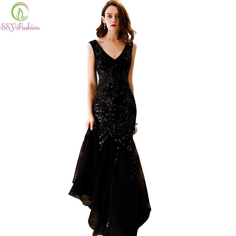 13478e11d06c SSYFashion New Sexy Mermaid Evening Dress Black Sequins Floor-length  Sleeveless Slim Fishtail Formal Prom Gown Robe De Soiree