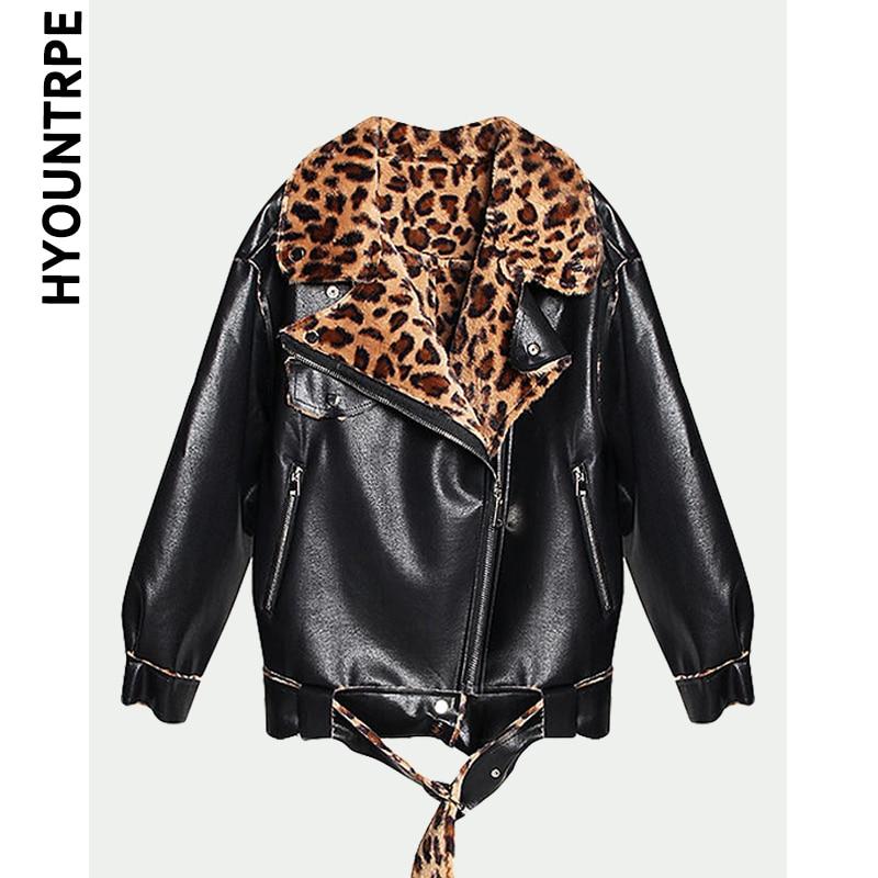Manteau Peau Mouton Fourrure Intégré De Faux Vestes En Moto Casual Fashion Pu Femmes Noir D'hiver Cuir Épaississent Chaude Zipper Leopard Outwear qwx1g