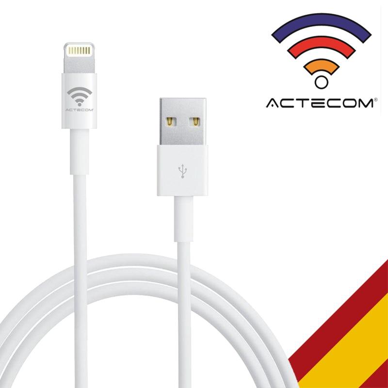 ACTECOM Cable LIGHTNING Cargador USB - 8 PIN Para IPHONE SE/5/5S/5C/6/6S/7/8/10/X/XS/XR/11/PLUS MAX MAC BOOK Carga Rápida