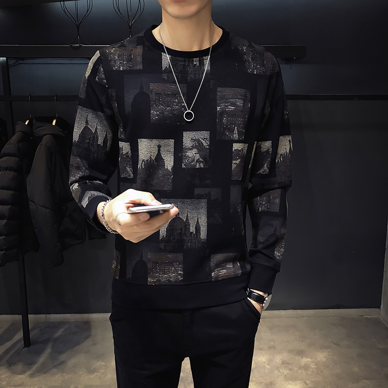 2018 autumn British 3D jacquard round neck men's long-sleeved T-shirt Slim tide men's large size printing bottoming shirt