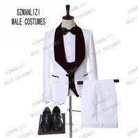 Men Wedding Suits 2019 Elegant Real 3 Pieces Slim Fit Groomsmen Velvet Lapel White Paisley Groom Party Suits Mens Wedding Tuxedo