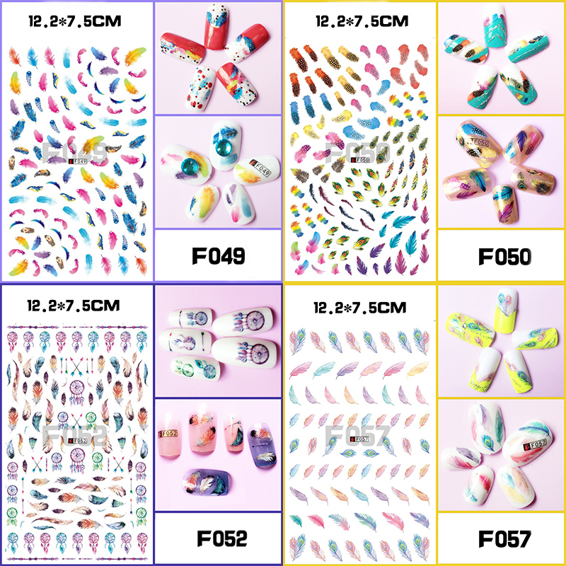 1 Sheet Optional Different Colors Feather Fashionable Nail Art Decor   3D Nail Sticker for Ladies Decals