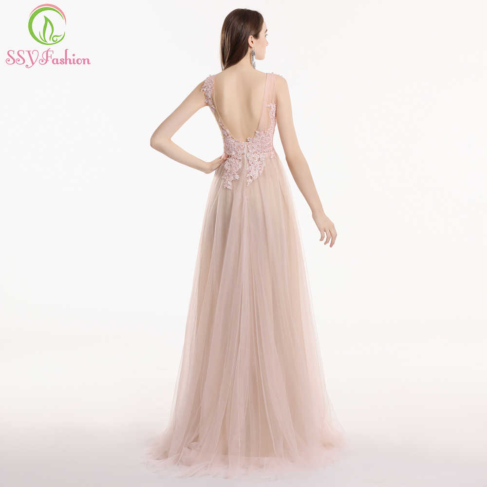 004fb722d0 SSYFashion New Nude Pink Lace Prom Dress Robe De Soiree Sweet Sleeveless  Sweep Train Appliques Beading Formal Prom Gown Custom