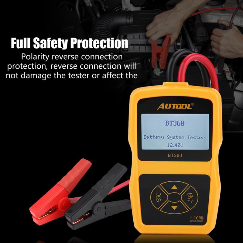 Testeur de batterie de voiture testeur de système de batterie de charge automobile analyseur numérique outil de Test de cellule testeur de charge multilingue BT360 - 6