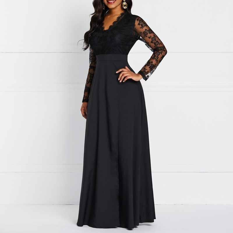 Вечеринка Дата Винтаж Готический Черный Макси платье халат Африканский Для женщин цветочной вышивкой See Through Кружева кисточкой Длинные платья