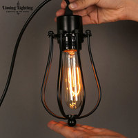 Vintage Industrial Nordic Wrought Iron Loft Style Retro Led Pendent Light Cage Lampshade Living Room Decor Pendant Lighting