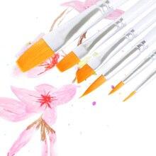 6pcs/set White Rod Watercolor Gouache Acrylic Nylon Wood Handles Oil Painting Paint Brush Art Supplies Reusable Manicure Set