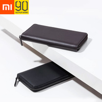 Xiaomi 90 Fun Mens Business Wallet Card Holder Purse Classic Long Wallet Cowhide Leather Black Zipper Anti Scratch High Quality