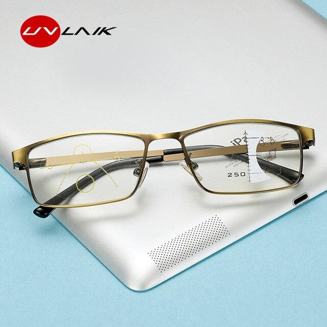 7a6a196dcf UVLAIK Progressive Multifocal Eyeglasses Men Retro Alloy Photochromic Reading  Glasses Women Anti blue light Prescription Glasses