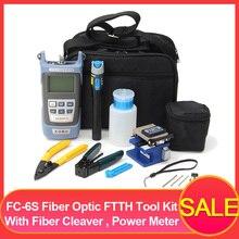 For FC-6S Fiber Optic FTTH Tool Kit Fiber with AUA-60S Fiber Cleaver Optical Power Meter 10KM Visual Finder Locator Wire strippr недорого
