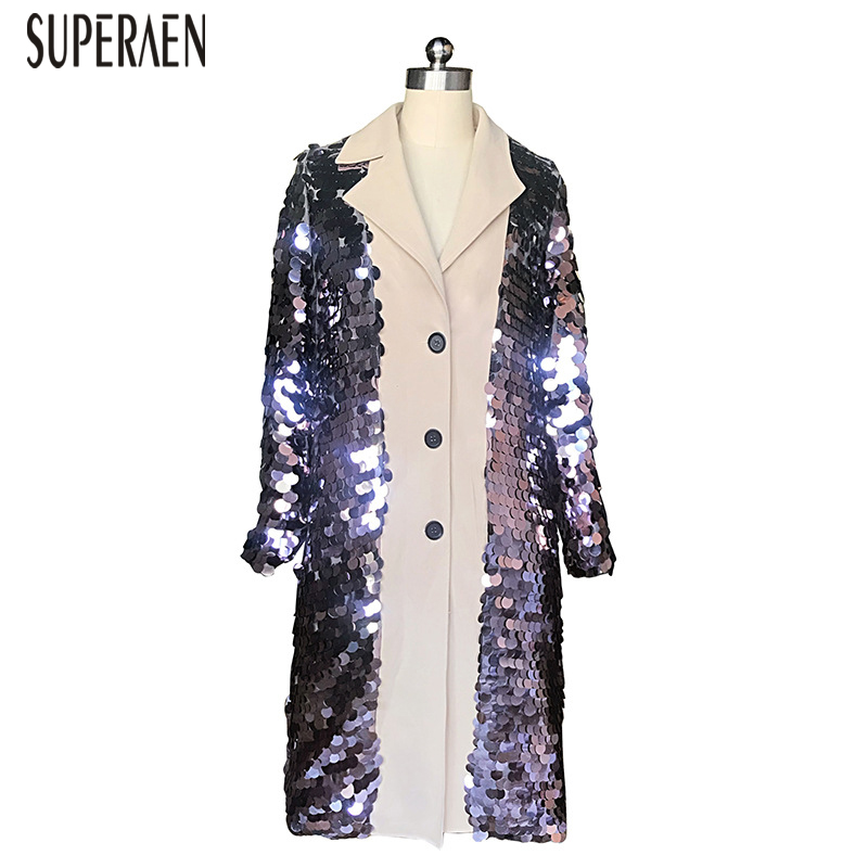 SuperAen Europe   Trench   Coat for Women New Spring 2019 Wild Casual Ladies Sequin Windbreaker Single Breasted Women Clothing