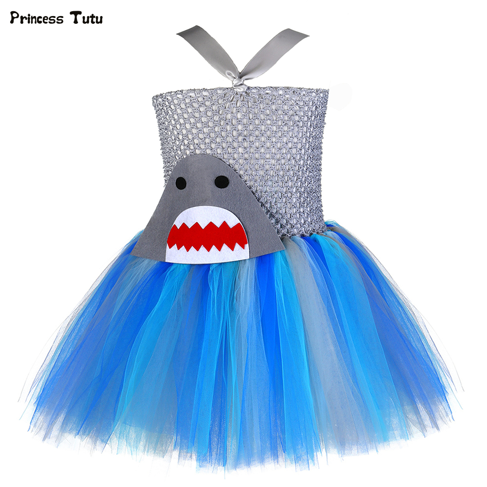 Girls Shark Tutu Dress Under The Sea Theme Birthday Party Dress Kids Toddler Photo Prop Halloween Ocean Fish Costume Girls Dress 1