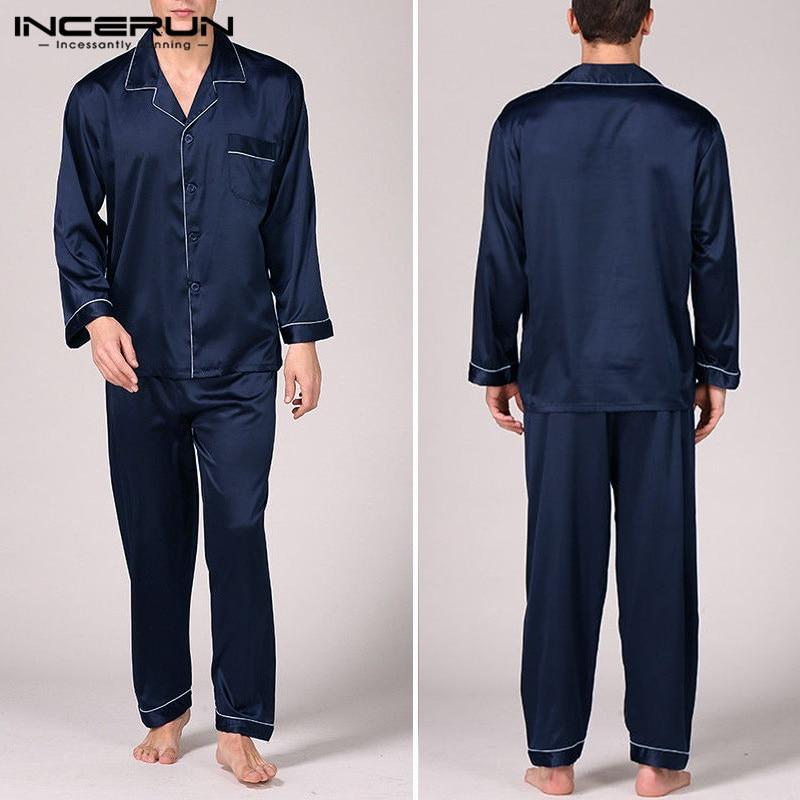 Pajama-Set Pant Stain-Silk Sleepwear Men's Autumn Robe Tops Sexy Hombre Fashion
