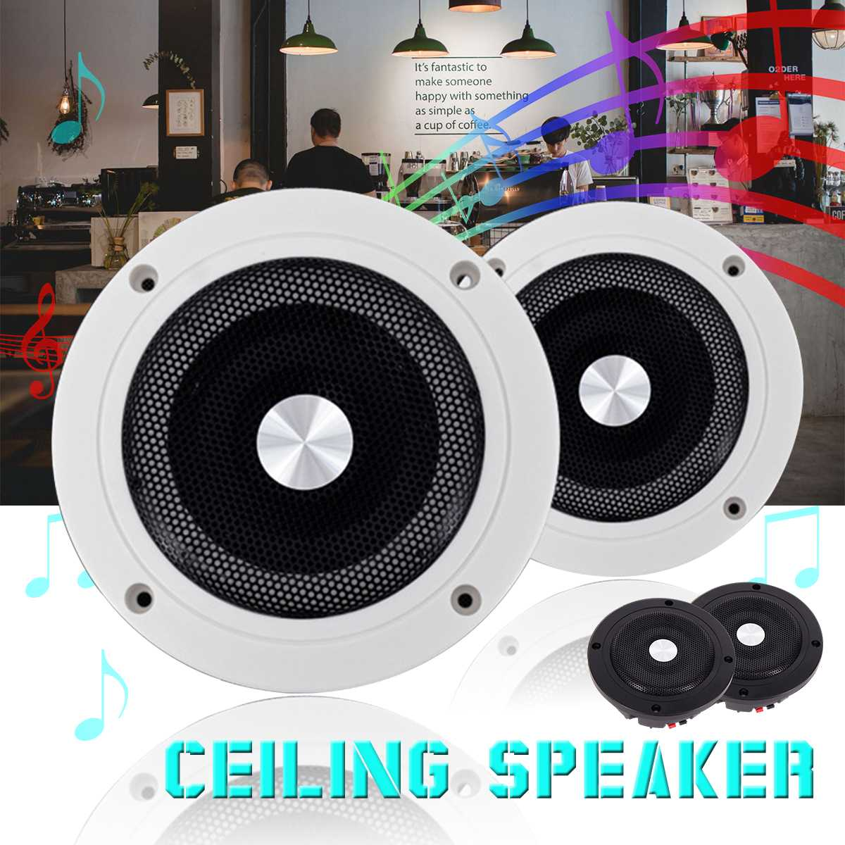 5 2inhc 60w Round Ceiling In Wall Home Audio Speakers