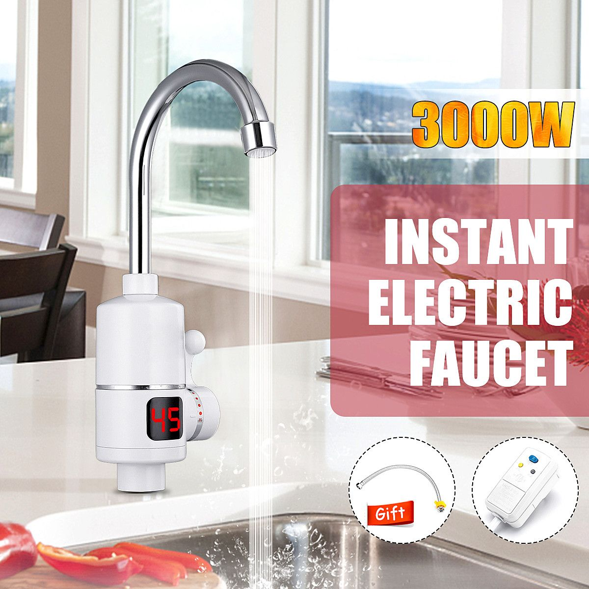Instant Hot Water Heater Tap Fast Instantaneous Thermostat   3KW Electrical Faucet Temperature Display With Leakage ProtectionsInstant Hot Water Heater Tap Fast Instantaneous Thermostat   3KW Electrical Faucet Temperature Display With Leakage Protections