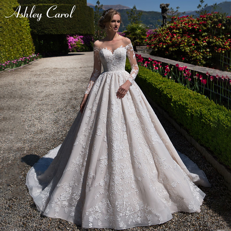 Ashley Carol Sexy Sweetheart Backless Long Sleeve Wedding Dress Palace Vintage Bridal Dress Chapel Train Princes Wedding Gowns