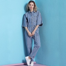 Casual single-breasted belt denim jumpsuit half sleeve for women 2019 ladies jumpsuits rompers womens