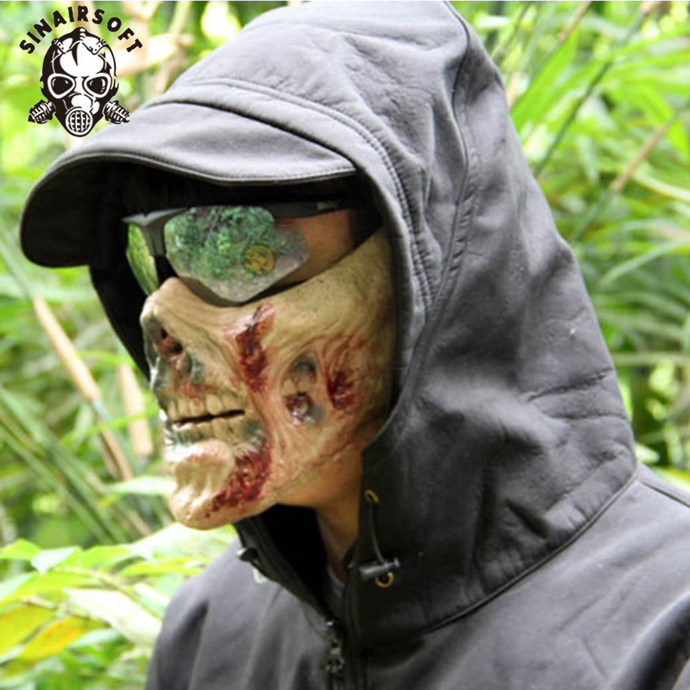 Home Tactical Zombie Skeleton Skull Bone Half Face Mask For Paintball Survival War Game Movie Prop Cosplay Halloween Cosplay Airsoft