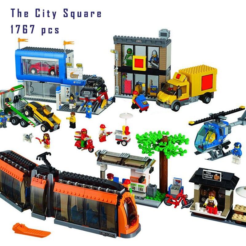 Modelo de bloque de construcción Bluetooth Compatible con Lego ladrillo tren 60097. 02038, 1767 piezas genuino de la Plaza de la ciudad de 3D ladrillos figura-in Bloques from Juguetes y pasatiempos    2