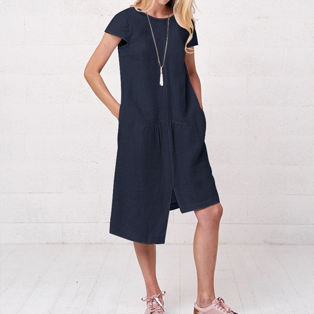 Women Dress Plus Size Solid Short Sleeve Loose Dress Casual Summer Femme Fashion O-Neck Straight Knee-Length Dresses Vestido D30