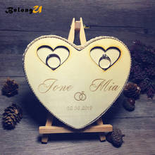 1pcs Custom Wooden Heart Ring Pillow Personalized Wedding Decor Rustic Name and Date Bearer Holder Party Decoration