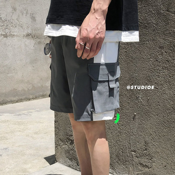 Summer New Shorts Men Fashion Solid Color Straight Casual Wear Wind Shorts Man Streetwear Trend Wild Hip Hop Loose Shorts