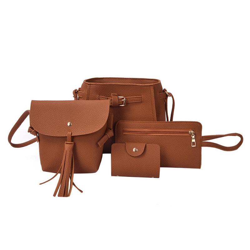 7b1350c476 4Pcs Set Leather Shoulder Tote Purse And Clutch.  23.00  17.00. 4Pcs Set  Fashion Women Faux Leather Shoulder Tote Purse Messenger Clutch Bag 2019 new