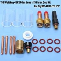 TIG Welding Gas Lens Glass Cup Kit 21pcs for Tig WP 17/18/26 1/8 Welding Equipment MIG Welders 10N25 Collet Back Cup Set