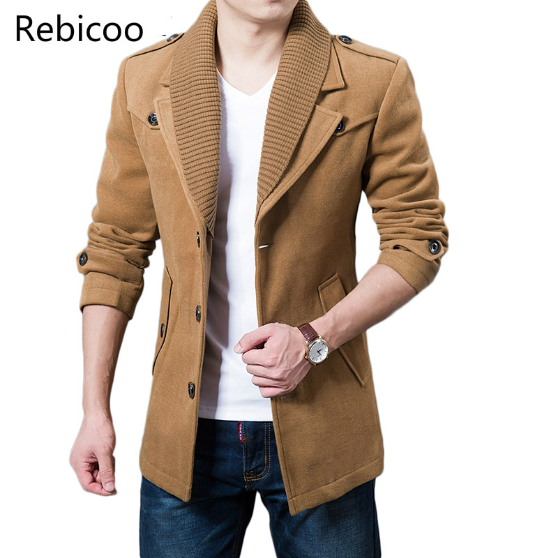 2019 Business Men Casual Warm Coats Size M 3XL High Quality Double Collar Winter Trench Coat Thicken Man Fashion Windbeaker in Wool amp Blends from Men 39 s Clothing