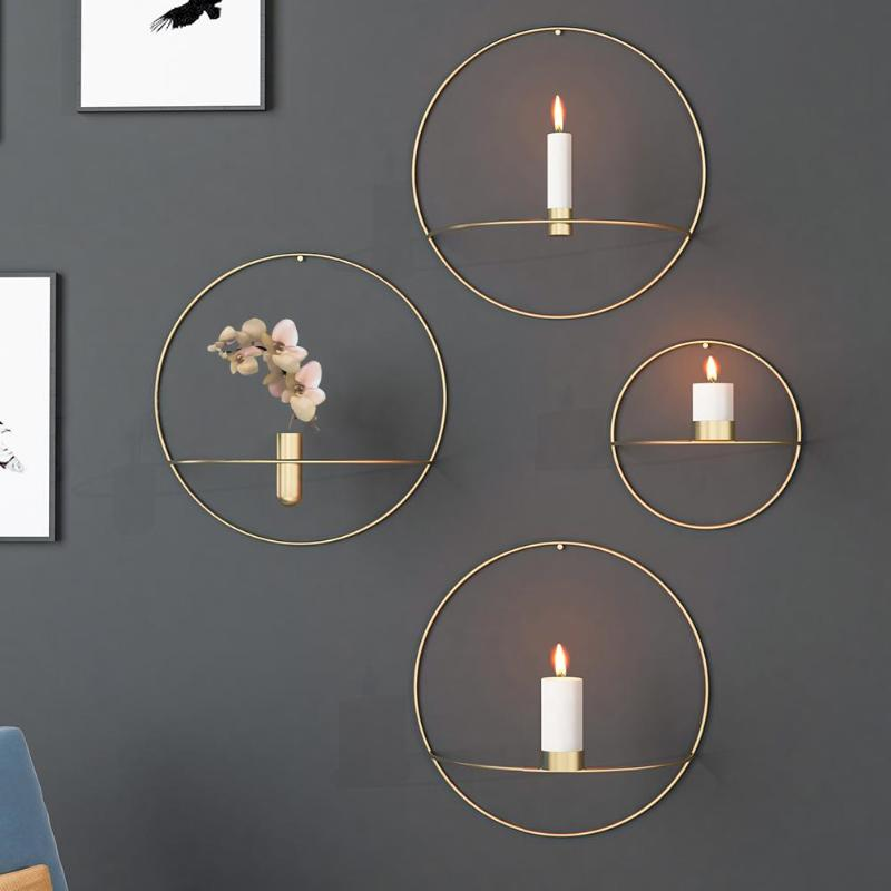 2018 3d Metal Candlestick Circle Candle Holder Wall