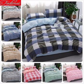 Blue Grey Plaid Duvet Cover Bedding Set Adult Couple Kids Soft Cotton Bed Linen Single Full Queen King Size Bedspreads 180x220cm