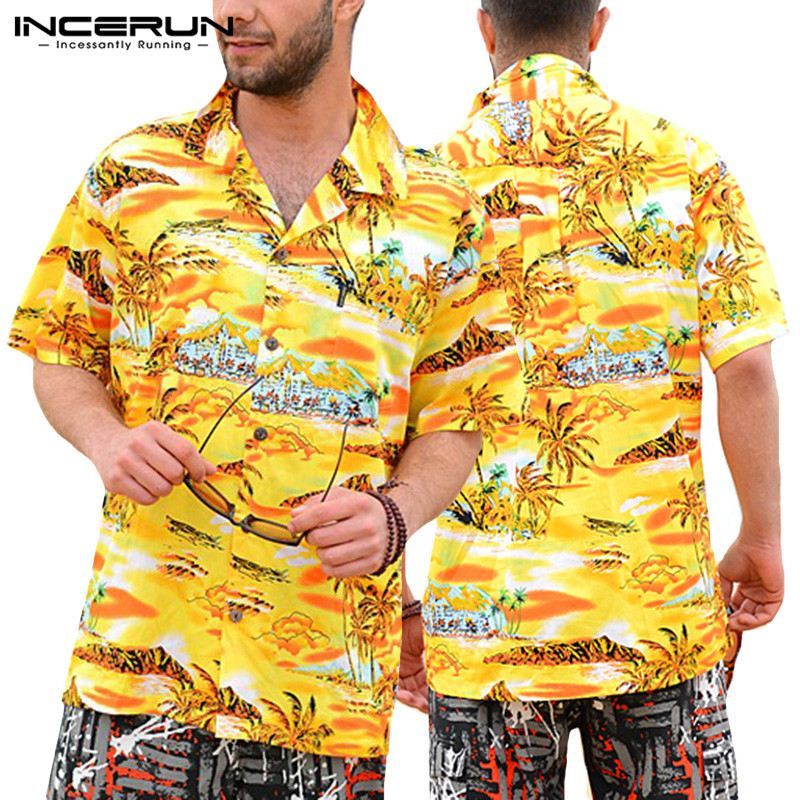 Summer Men Clothes Vacation Shirts 5XL Beach Hawaiian Yellow Mens Shirts Dress Short Sleeve Lapel Collar Loose Floral Tee Shirt