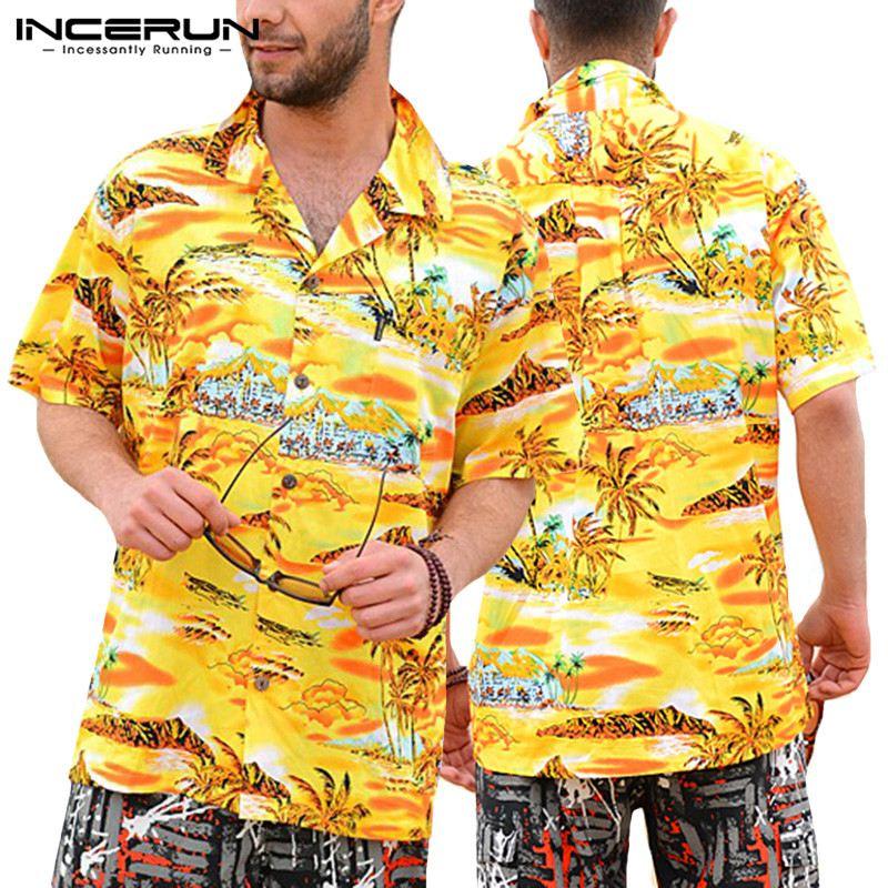 Summer Men Clothes Vacation Shirts 5XL Beach Hawaiian Yellow Mens Shirts Dress Short Sleeve Lapel Collar Loose Floral Tee Shirt