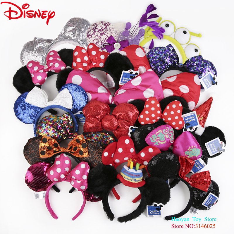 Genuine Disney Accessories Cute Cartoon Headdress Hair Hand Accessories Kawaii Plush Toys Birthday Gift For Girls Fashion Toys