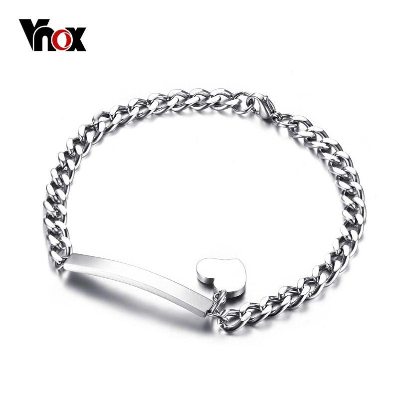 Vnox Trendy Personalized ID Heart Bracelet Bangle Stainless Steel Metal Provide DIY Engrave Service