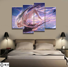 Home Decor Canvas 4 Panels Anime Black and White Angel Cartoon Piece Poster Picture Wall Decoration Painting Wholesale