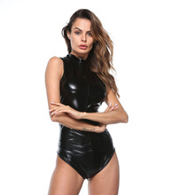 #2160 PU Leather Bodysuit Women With Zippers Sexy Club Sleeveless High Neck Tight PVC Thong Black One-piece Pole Dance