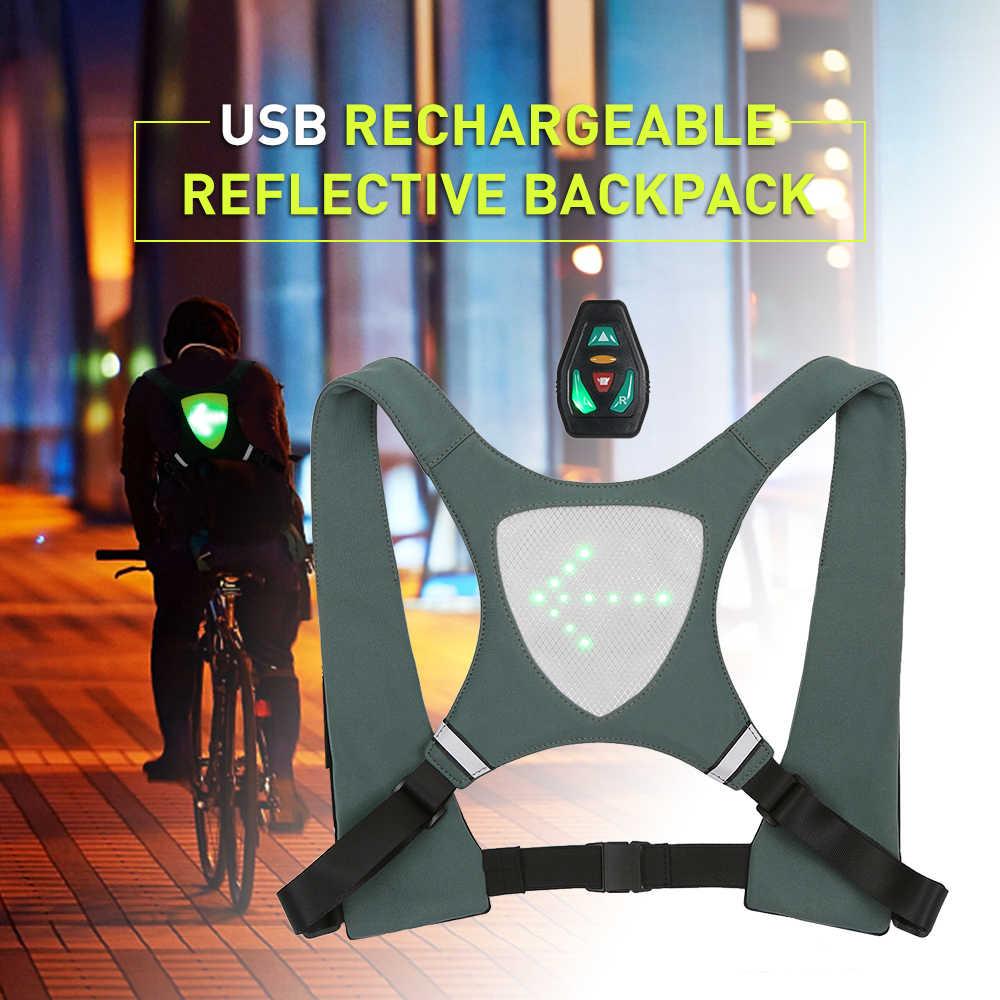 Lixada Recarregável Reflexivo Colete Mochila com Sinal de Volta Luz de Controle Remoto Saco de Desporto Ao Ar Livre Segurança Engrenagem para o Ciclismo