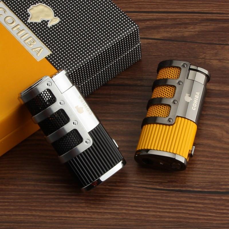 COHIBA Cigar Lighter Refillable Butane Gas 3 Torch Jet Flame Windproof Cigarette Smoking Lighter W/ Cutter Punch Gift Box