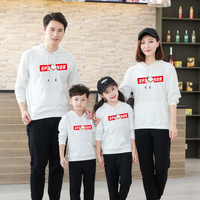 New Cotton Matching Family Sweatshirts Hooded Black Family Clothing Fashion Matching Family Outfits Father Mother Son