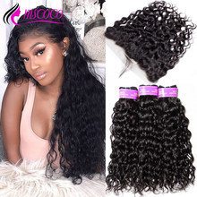 Natural Water Wave 3 4 Bundles With Frontal Closure Wet And Wavy Human Hair Bundles With Closure Brazilian Peruvian Hair Weave(China)