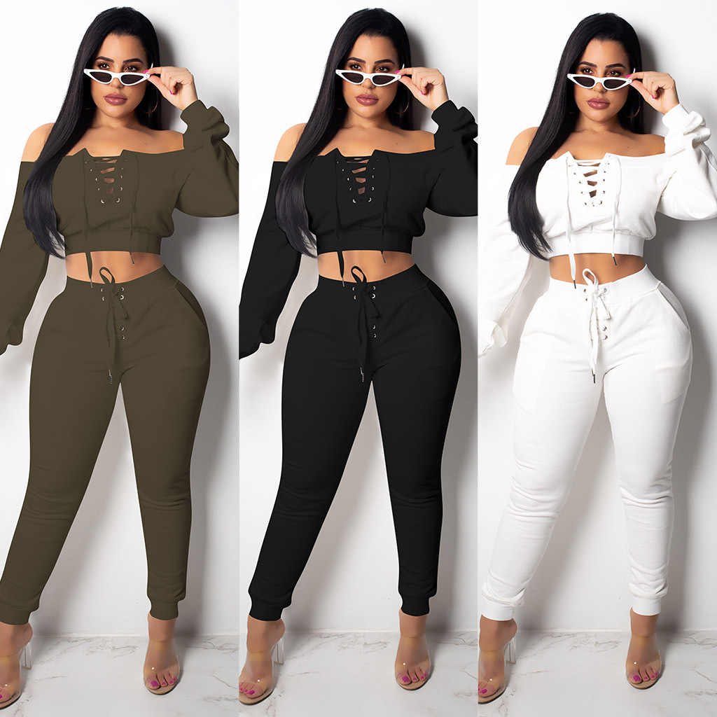 8a2cd3bc294c Two Piece Set Top and Pants Pullover Strapless 2019 Spring Women Two Piece  Outfits Casual 2