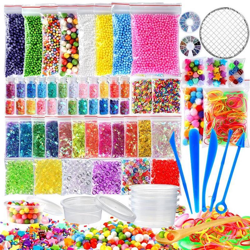 72 Pack bricolaje Kits suministros Pelota de espuma gránulos Baba pecera cuentas neto brillo frascos de perlas de papel de azúcar cuchara
